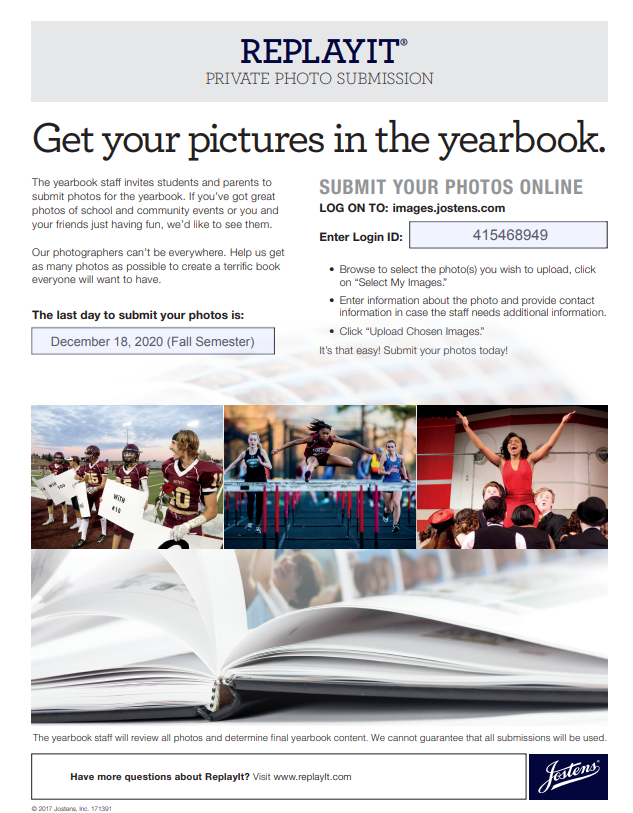 Replay It yearbook photo submission flyer