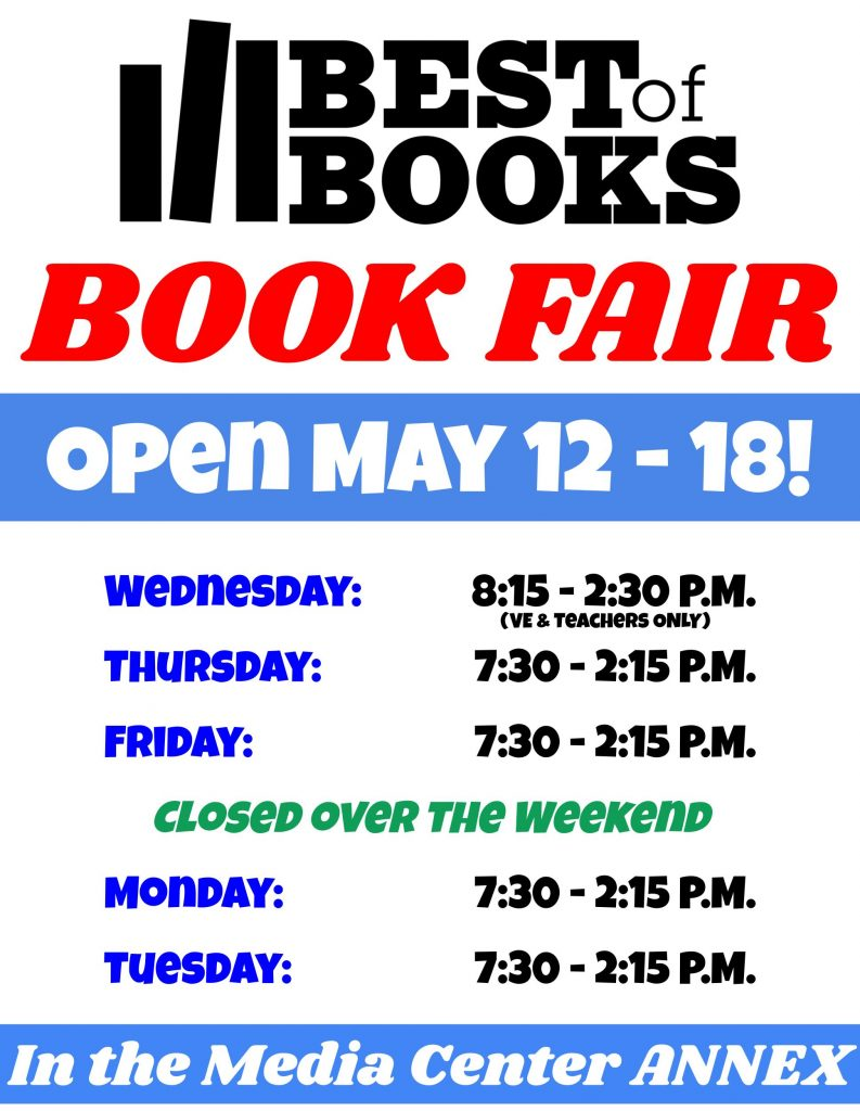 Best of Books book fair open May 12 - 18 in the library annex