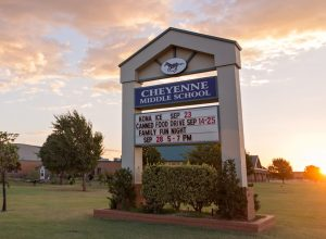 marquee in front of Cheyenne Middle School